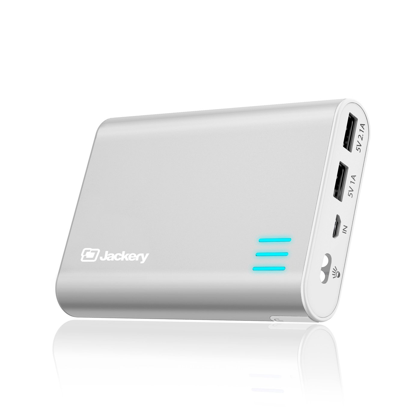 Jackery Giant+ Premium 12,000 mAh Dual USB Portable Battery Charger & External Battery Pack (Total 3.1A Output) for iPhone 8 /8 Plus, iPhone X, Galaxy S8, S8+ & Other Smart Devices (Silver)