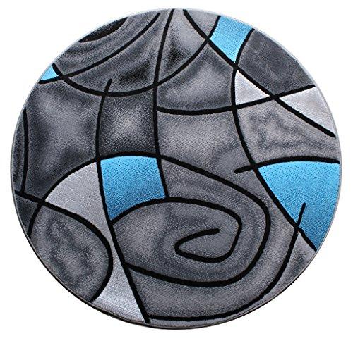 Masada Rugs, Modern Contemporary Round Area Rug, Blue Grey Black (5 Feet X  5 Feet) Round