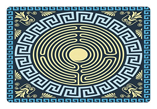 Ambesonne Greek Key Pet Mat for Food and Water, Yellow and Blue Labyrinth Pattern from Ancient Culture with Floral Details, Rectangle Non-Slip Rubber Mat for Dogs and Cats, Pale Yellow (Floral Labyrinth)