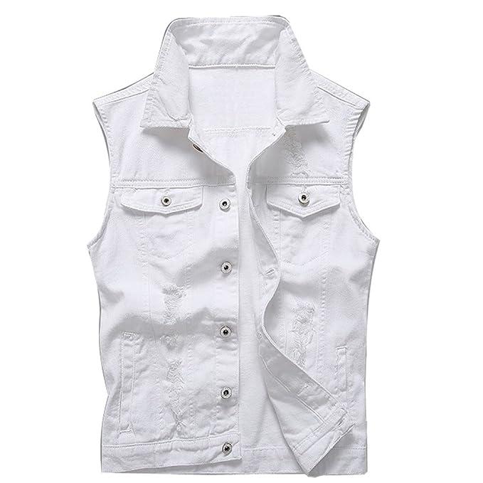 Vintage Women Vest Wash Denim Jeans Jacket Fashion Men Slim Fit