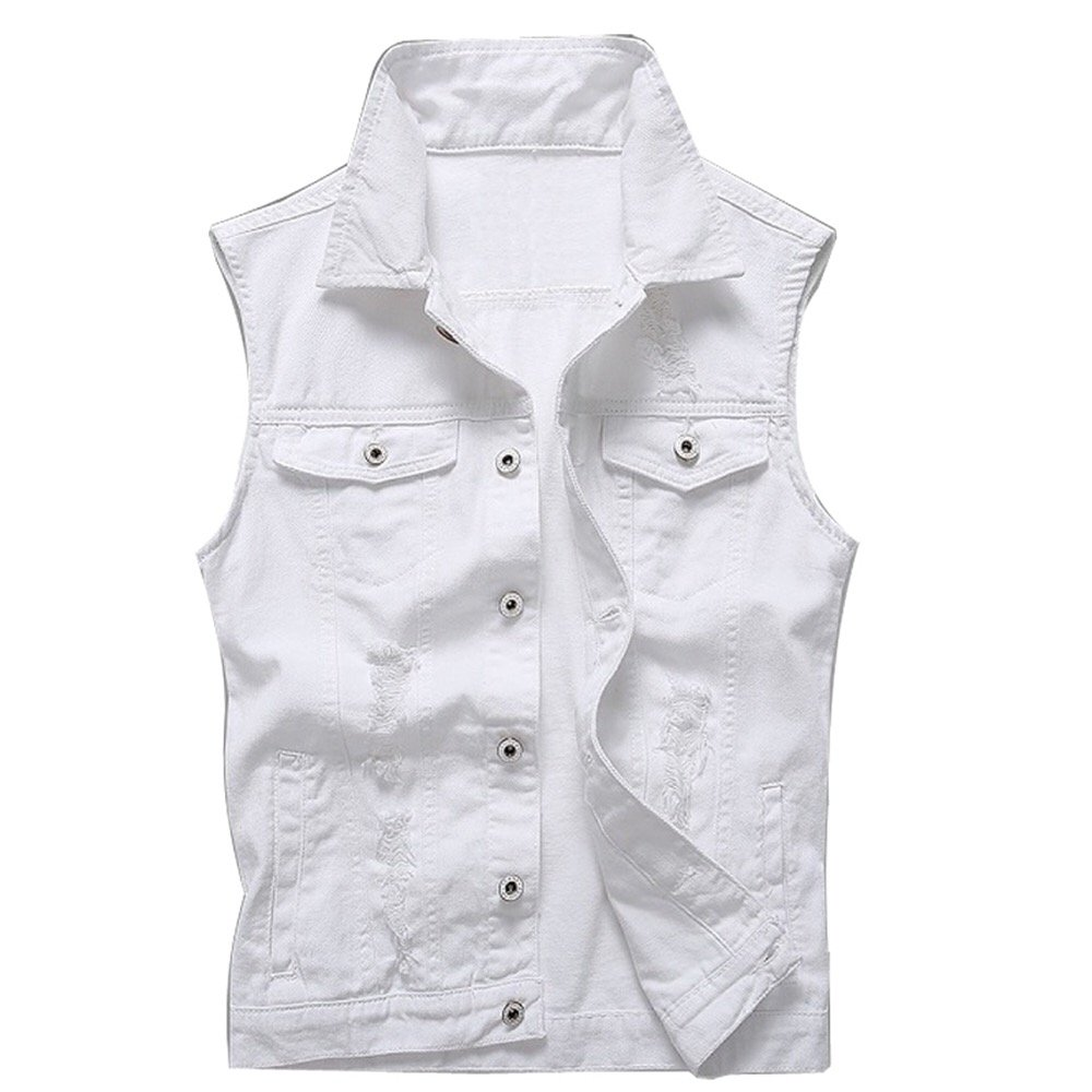 Stylish14 Vintage Men Wash Denim Jeans Jacket Fashion Women Slim Fit Holes Ripped Coat Sleeveless Vest Outfit Tops White (XXXXL) by Stylish14