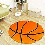 SUNONE11 23.6'' Sport Fans Basketball Designed Round Mat Area Rug Floor Carpets for Nursery Bedroom Kids Room Living Room Decorations