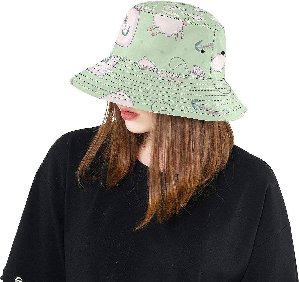 Top Hats Summer Cool Bucket Hat Adorable Jumping Cute Sheep Adjustable Fisherman Cap Hiking Rain Picnic Caps for Toddler Fisherman