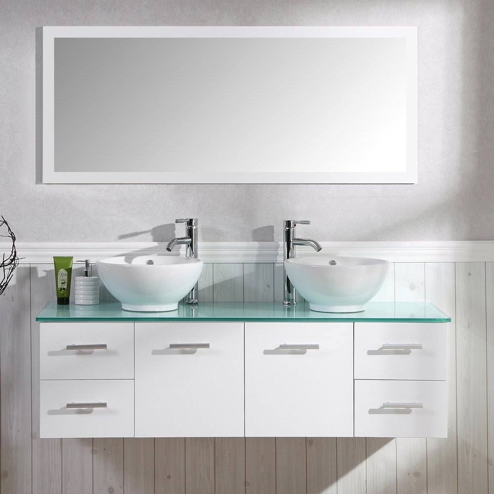 Badezimmer Komplett-Set Badmöbel inkl. Spiegel, Unterschrank, 2 ...