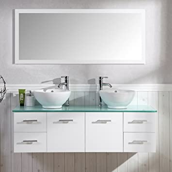 Badezimmer Komplett Set Badmöbel Inkl. Spiegel, Unterschrank, 2 Waschbecken  Und 2 Armaturen