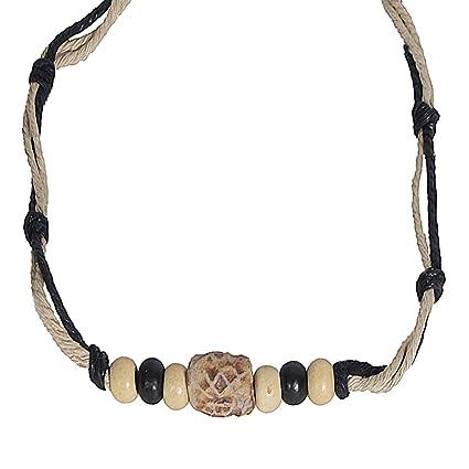 Men pendant bead hemp braid surfer choker necklace stylish tribal men pendant bead hemp braid surfer choker necklace stylish tribal beige with black aloadofball Choice Image