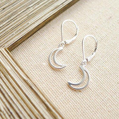 - Open Moon Earrings Sterling Silver Crescent