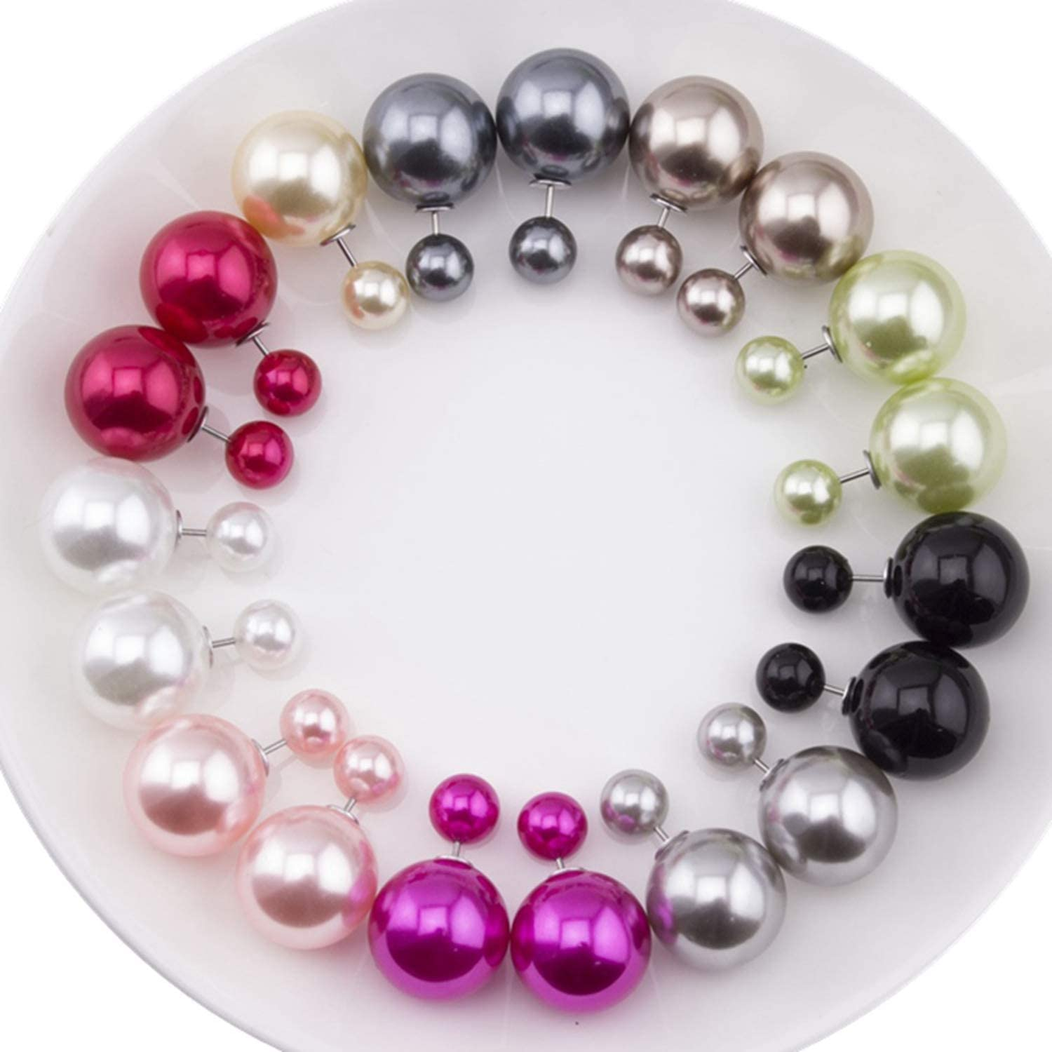 10 Pairs//lot Mix Colors Cheap Summer Style New Fashion Ball Double Sided Earrings Brincos Colored Ball Stud Earrings for Women