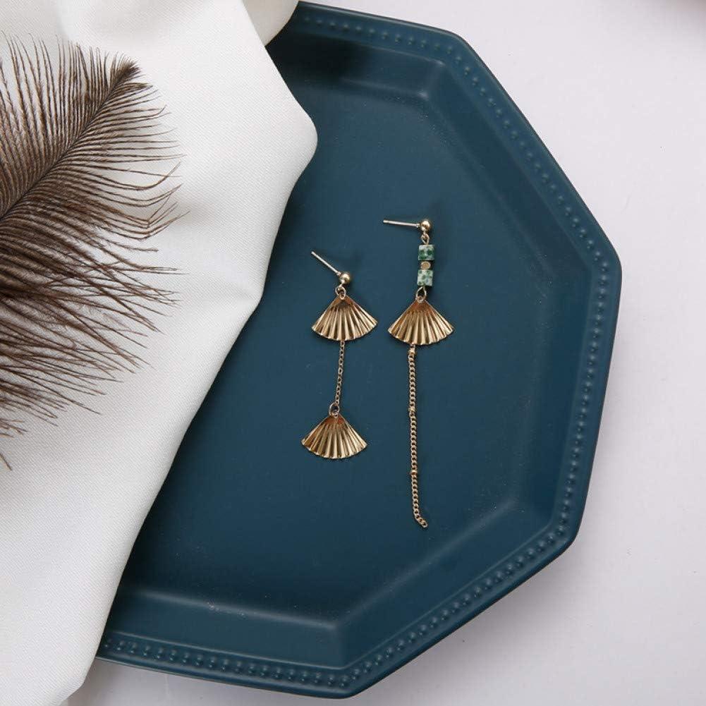 ZHQJY Pendientes de joyería con Forma de Abanico de Palacio Vintage Pendientes de Gota de Borla de Cadena Larga de Piedra Natural asimétrica para Fiesta de Mujer