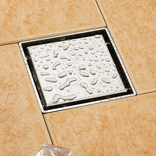 "good Tile-insert Shower Floor Drainer with Square Removable Cover and Strainer Make of SUS 304 Stainless Steel, Brushed Nickle, 5.9"" x 5.9"""