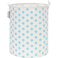 Sea Team 19.7 Inches Large Sized Waterproof Coating Ramie Cotton Fabric Folding Laundry Hamper Bucket Cylindric Burlap…