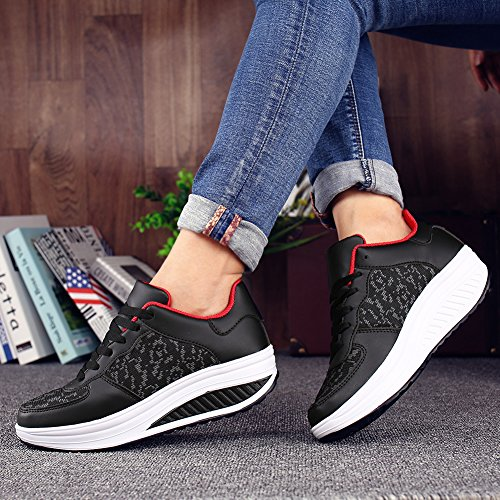 Shoes on uruoi Breathable Lose Comfortable Shake Weight Shoes Wedge Women's Platform Walking Black Slip q7w0qp6