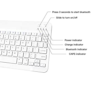 XIWMIX Ultra-Slim Wireless Bluetooth Keyboard - Universal Rechargeable Bluetooth Keyboard Compatible with iPad Pro/iPad Air/iPad 9.7/iPad 10.2/iPad Mini and Other iOS Android Windows Devices (Color: white)