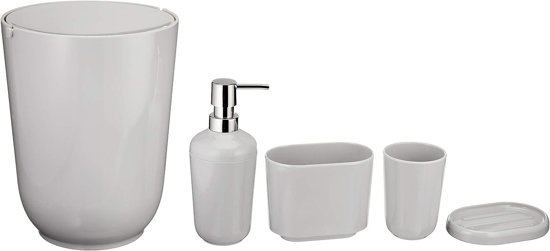Basics 5-Piece Bathroom Accessories Set, Smooth Grey: Home & Kitchen