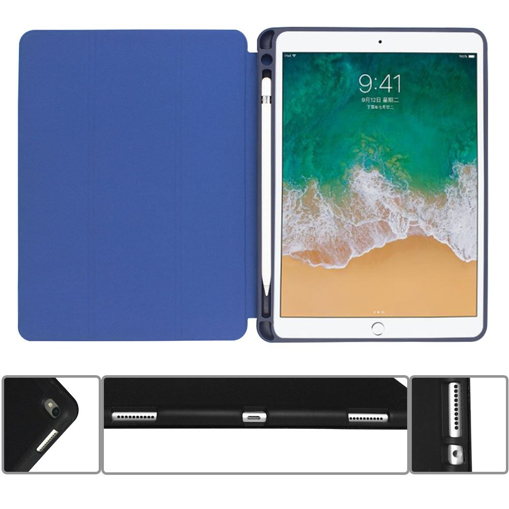 Case for ipad Pro 12.9 with Stand and Pencil Holder, PU Leather Smart Cover Magnetic Trifold Stand Auto Wake up/Sleep for ipad Pro 12.9 2017 2018(Blue) by Coralov (Image #10)