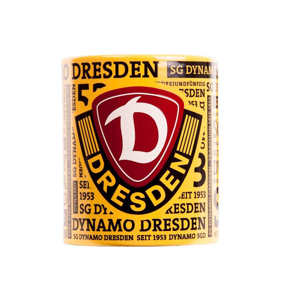 SG Dynamo Dresden Kaffeetasse Schriftzug Gelb