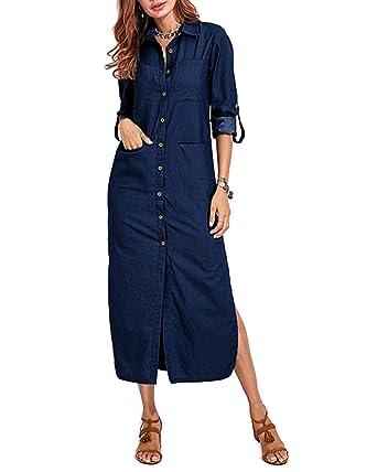 Vonda Damen Denim Kleid Lang Langarm Shirt Jeanskleider