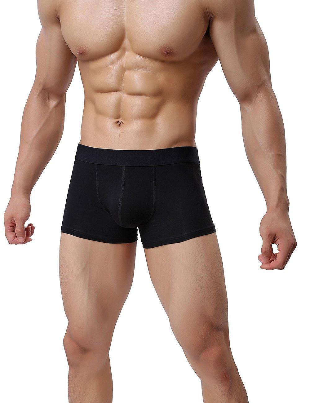 SHENGRUI Mens Boxer Briefs Short Leg Low Rise Cotton Underwear