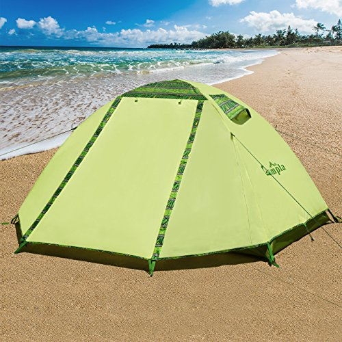 Campla Camping Tent 2 Person 3-4 Season Backpacking Tent Waterproof Lightweight Outdoor Shelter Recreation Tent with LED for Hiking Mountaineering Travel Family (Carrying Bag Included and Easy Set Up)