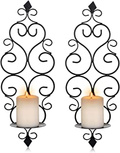Sziqiqi Iron Wall Candle Sconce Holder Set of 2 Hanging Wall Mounted Pillar Candle Sconces Holder, Wall Sconces Decor for Bedroom Dining Room, Black