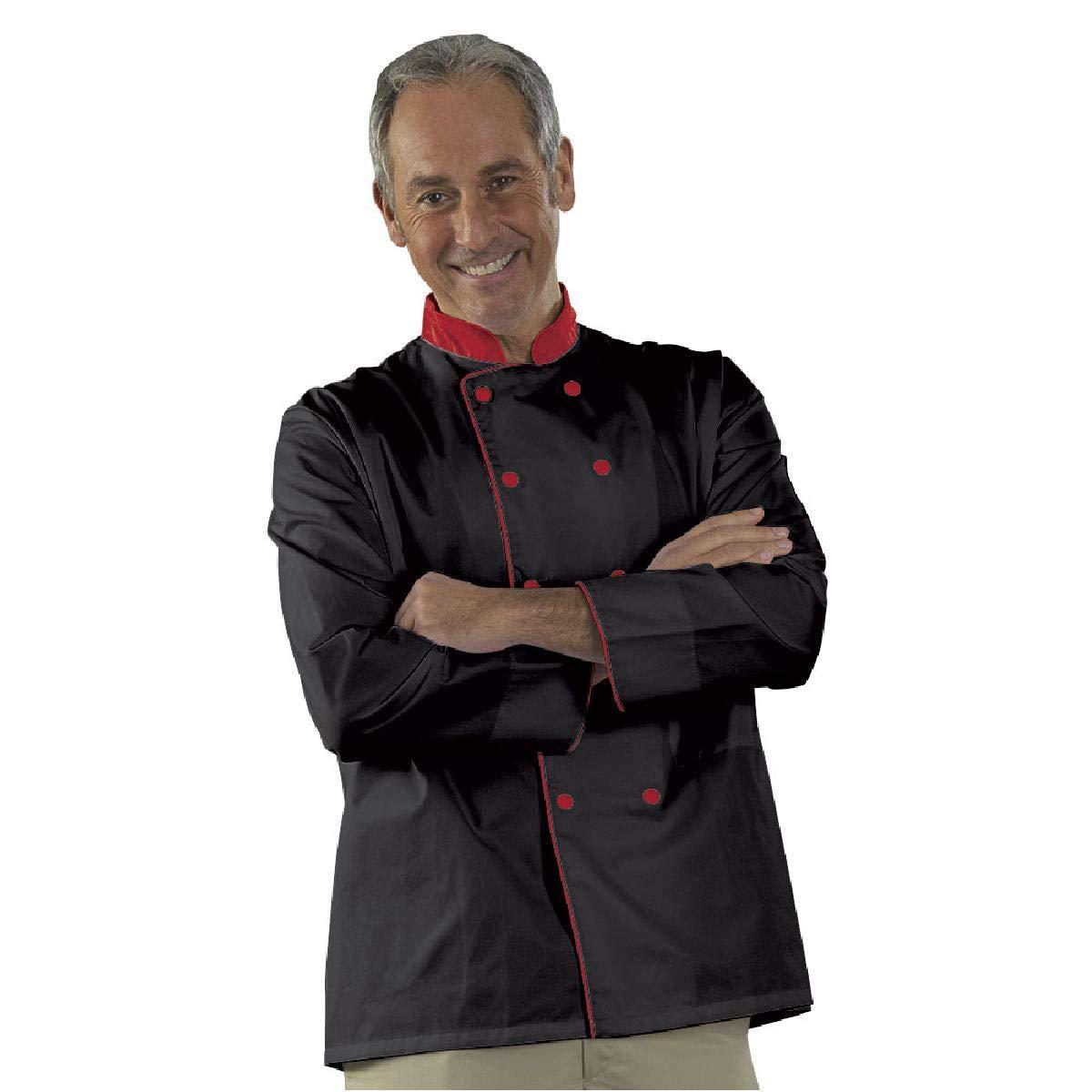 Veste de Cuisine Noir Tissu serg/é Polyester Coton Mixte modele Karl Manches Longues