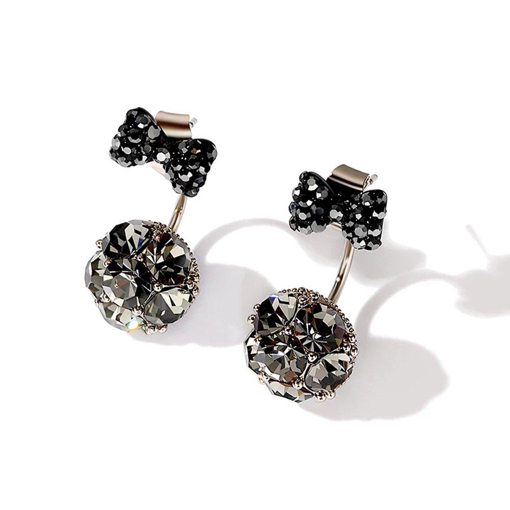Black Bow Earrings Fashion Simple CZ Stud Earrings Ear Jacket for Women