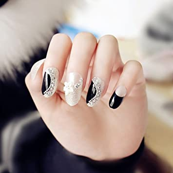 Amazon.com : Round Toe Black Silver Glitter Fake Nails Rhinestone Pearl Bride 2017 New Arrival Nail Art Nail Tips : Beauty