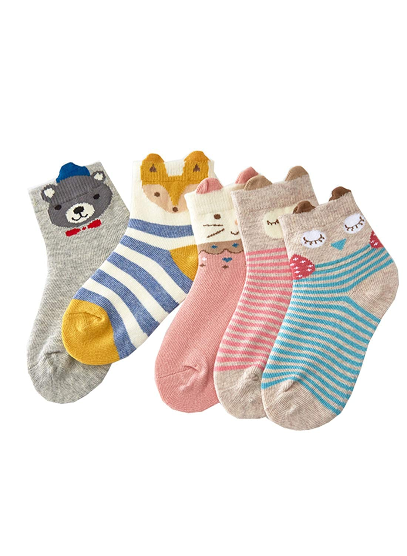 2y-10y Girls Socks,Kids Cute Cartoon Animal Novelty Seamless Cotton Socks