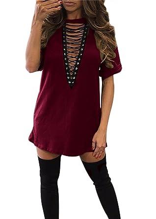 dec4c8d2fe41 Women s Deep V Choker neck T Shirt Sexy Bandage Lace-up Plunge Mini Shirt  Dresses