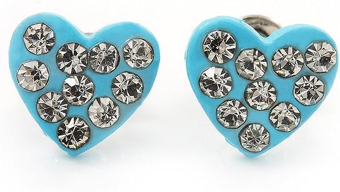Blue enamel stud earrings Tiny posts on sale Enameled copper minimalist jewelry Small button dot earrings