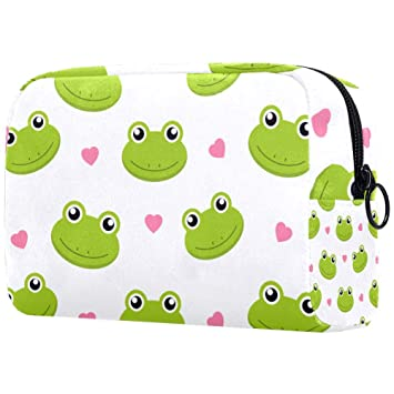 Cute Frogs With Hearts Cosmetic Bag Travel Makeup Bag for Women Girls Zippered Pencil Case Pen Pouch Storage Holder Box Stationery for Office School
