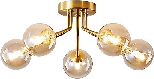 Modern Sputnik Chandelier Ceiling Mounted Light Fixtures Cognac Glass Globe G9 Bulb Gold
