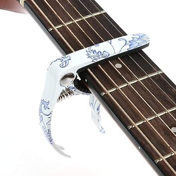 Hidear H-27-3Capo - Cejilla para guitarra acústica y eléctrica (porcelana), color azul y blanco: Amazon.es: Instrumentos musicales