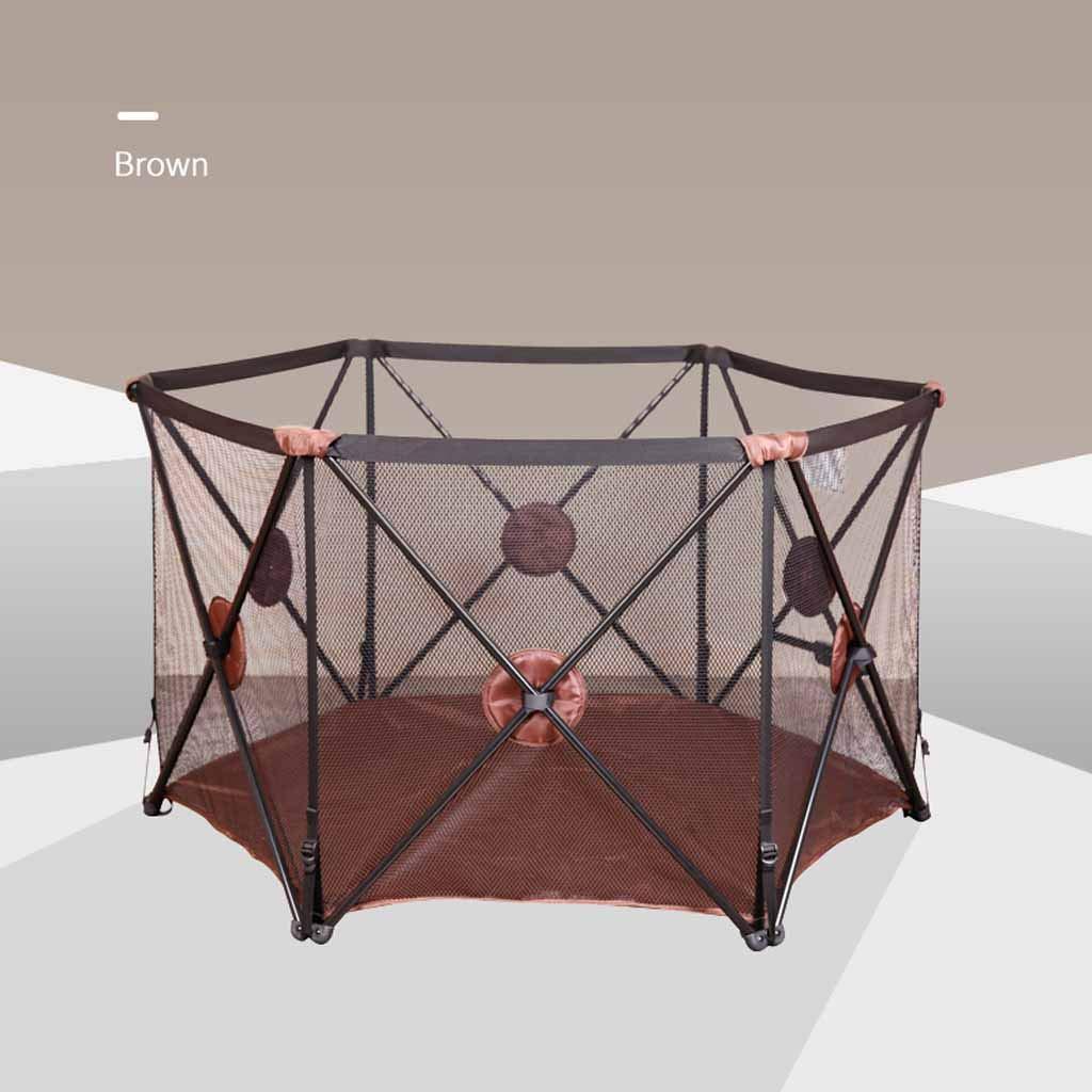 JSSFQK 赤ちゃん遊びフェンス子供安全フェンス幼児幼児クロールマット屋内フェンスホーム折りたたみ 保護フェンス (色 : Brown)  Brown B07MK1YNJL