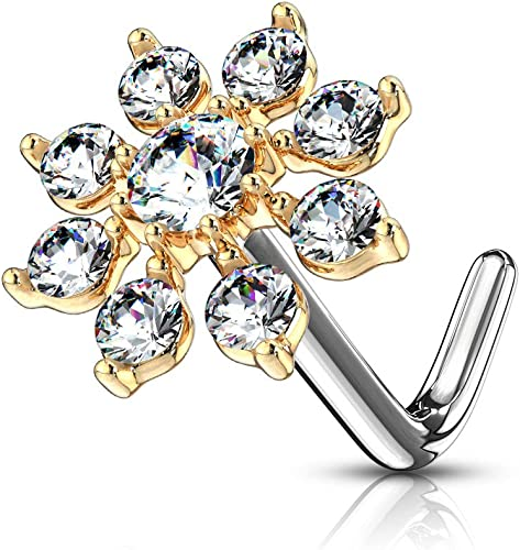 CZ Triangle L Bend Nose Piercing Stud Bar Ring Body Jewellery