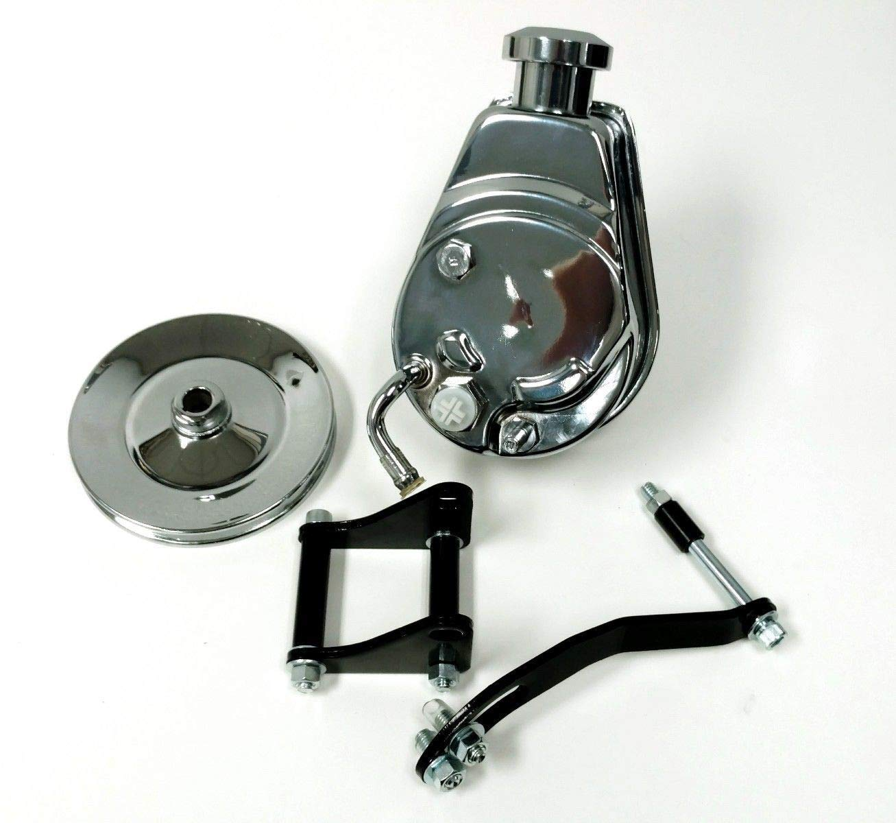 Sbc Chevy Chrome Saginaw Style Power Steering Pump W//Pulley /& Black Bracket