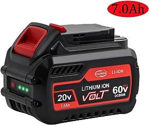 DSANKE DCB606 20V/60V/120V MAX 7000mAh Lithium Replacement Battery for DeWalt Flexvolt DCB606 DCB612 DCB606-2 DCB609 DCB609-2 DCB204 DCB205 DCB206 20V/60V/120V MAX Cordless Power Tools