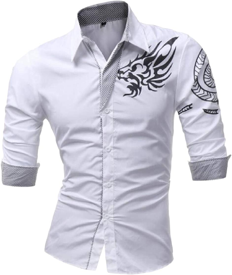 Cromoncent Mens Printed Slim Top Button Down Long-Sleeve Shirts