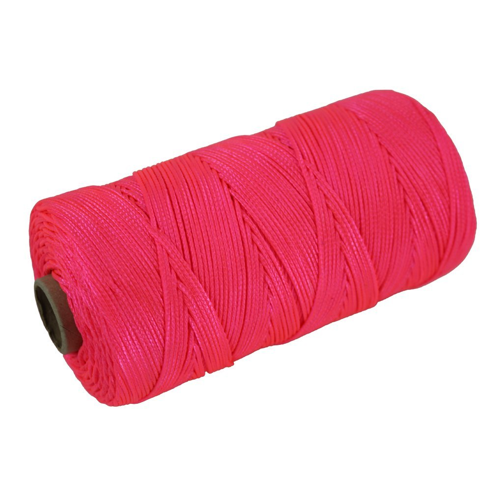 Braided Nylon Mason Line #18 - SGT KNOTS - Moisture, Oil, Acid, Rot Resistant - Twine String Masonry, Marine, DIY Projects, Crafting, Commercial, Gardening use (1,000 feet - Florensent Pink)