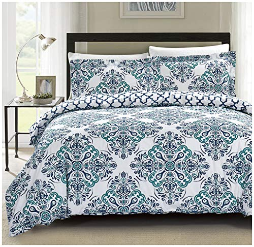 - Mivedia Collection Duvet Cover Queen 100% Cotton Damask Duvet Cover Set with Buttons Closure - 3 Piece