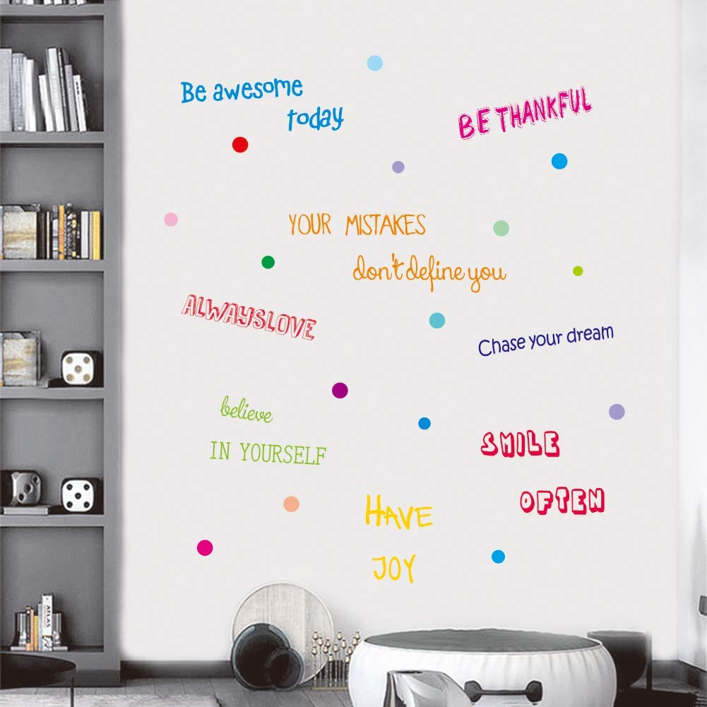 IARTTOP Inspirational Quotes Wall Decal, Motivational Phrases Sticker for Home Decoration, Positive Sayings Window Cling Decor and Classroom Decor (3 Sheet Multicolor Decals)