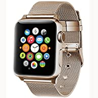Apple Watch Band,GEOTEL Apple Watch Accessories iWatch Band Milanese Loop Stainless Steel Band with Classic Buckle for Apple Watch Series 2 Series 1,Nike+,Hermes,Sport&Edition(38MM-CHAMPAGNE GOLD)