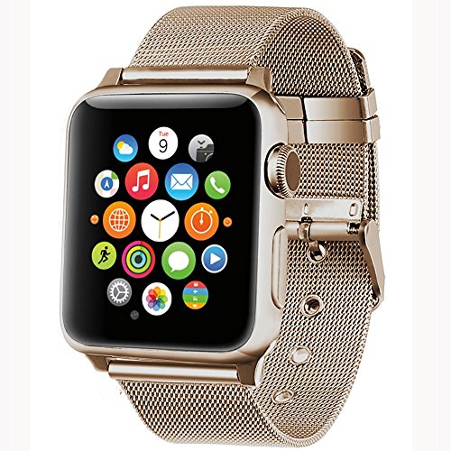 Apple Watch band 38mm,AGUARA Apple Watch Accessories Milanese Loop Stainless Steel Replacement iWatch Band Classic Buckle for Apple Watch Series 2,Series 1,Sport,Edition (Retro Gold, 38mm)