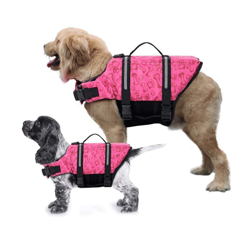 Bumlon Gtpeak Dog Life Jackets Swimming Vests Safe Flotation Devices, Adjustable Reflective Swimsuit, Easy Grab Handle, Preserver Lifesaver Large Medium Small (XL, Pink)