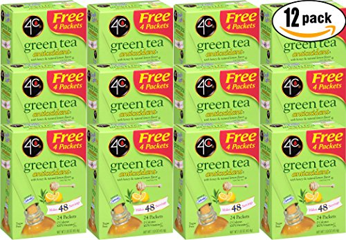 4C Green Tea Antioxidant With Honey & Natural Lemon, 1.53oz per Packet, 24 Ct. Box (Pack of 12, Total of 288 Packets) by 4C