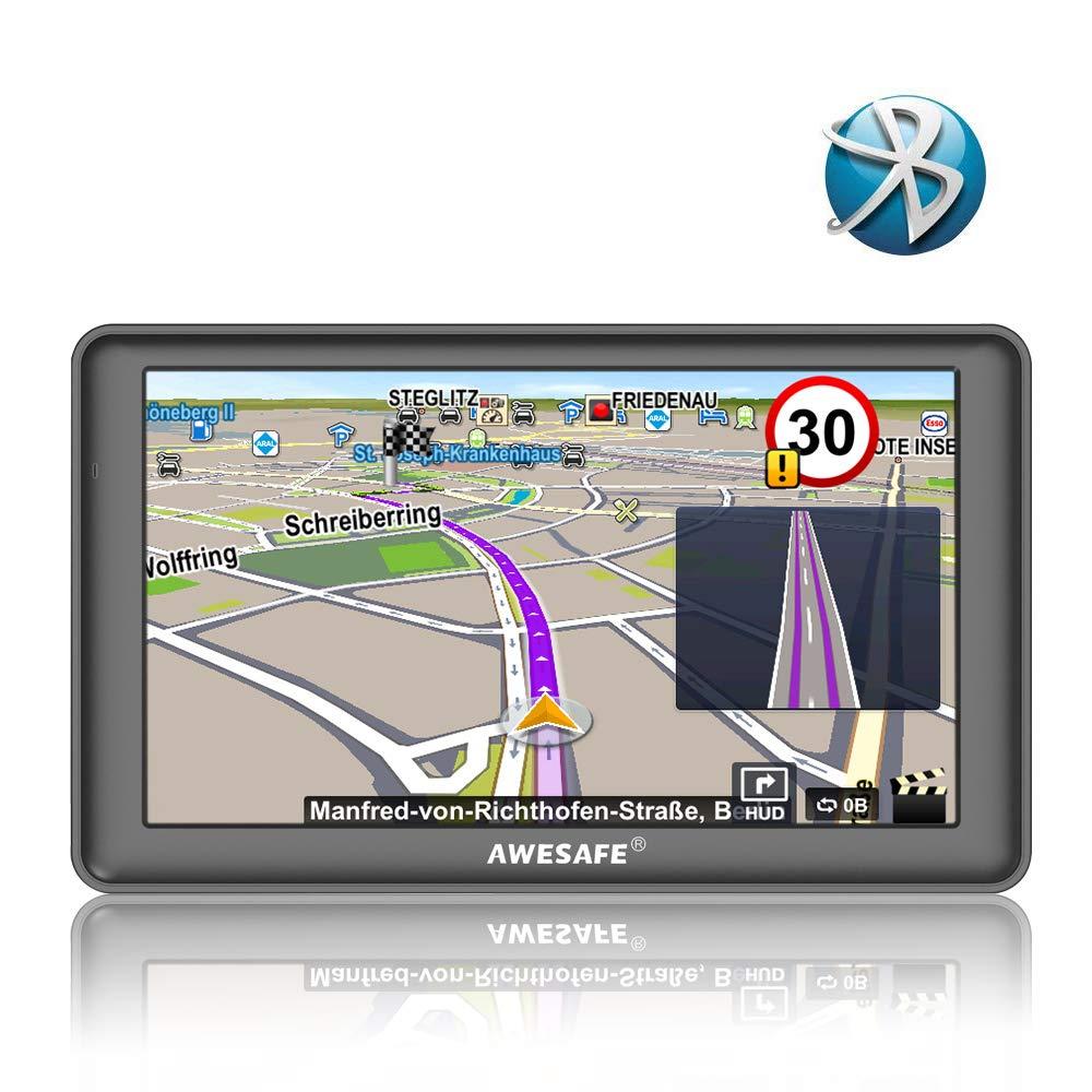 GPS Auto avec Bluetooth écran Tactile cartographie de système de Navigation Automatique de 7 Pouces Europe 52 Pays Gratuit Multi-Langue intégré de 8 Go Support SD Carte AWESAFE