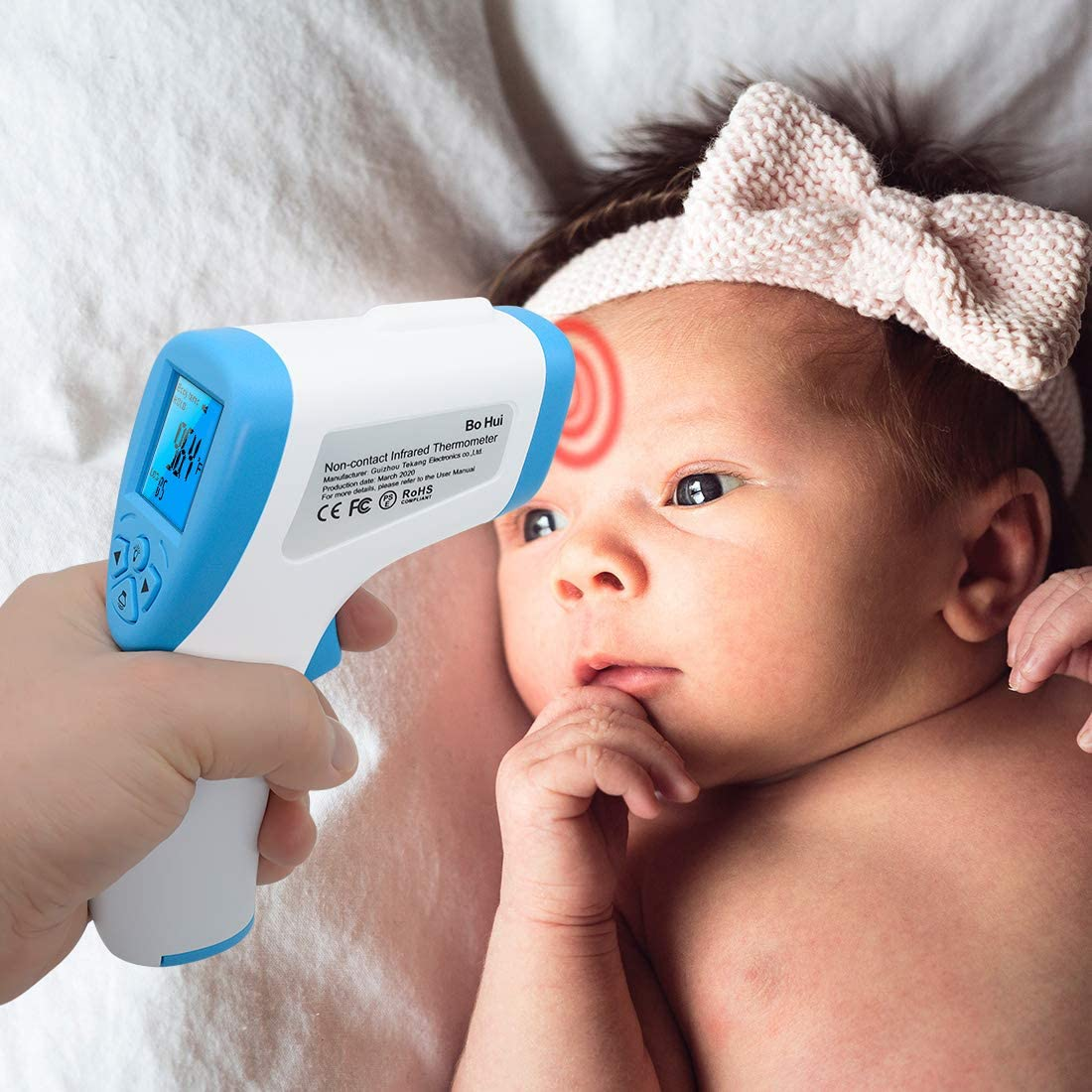 Instant Reading Infrared Ear Thermometer for Baby 1 set Non-contact Digital Infrared Forehead Thermometer with LCD Display Adults and Surface of Object Infrared Thermometer