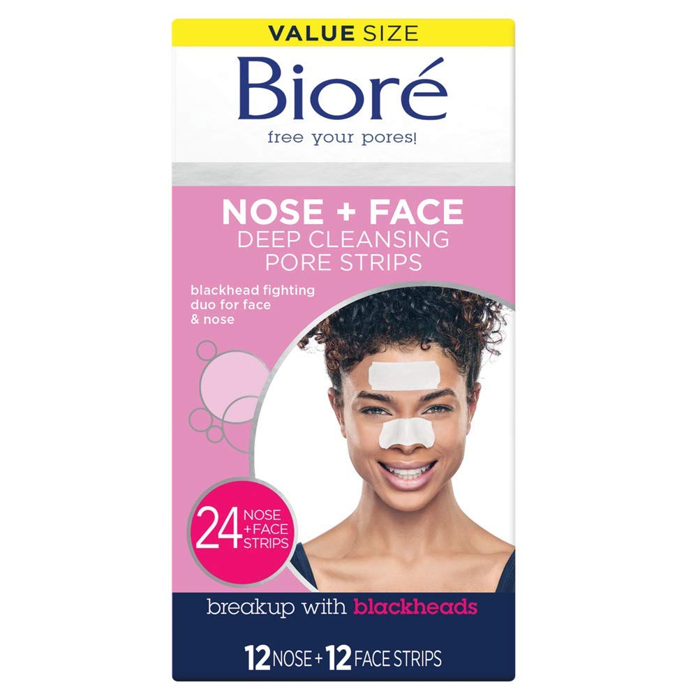 Bioré Nose Face, Deep Cleansing Pore Strips, 24 Ct Value Size, 12 Nose + 12 Face Strips for Chin or Forehead, Instant Blackhead Removal & Pore Unclogging, Oil-free, Non-Comedogenic, Packaging May Vary: Beauty