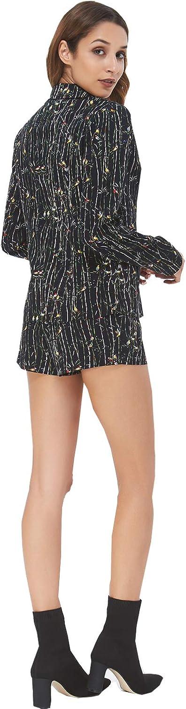 NOBLEMOON 2 Pezzi Abiti da Donna Pulsanti Blazer Floreale Giacca Set Vestito Tasche Bavero da Sera Casual da Lavoro Slim Fit con Pantaloni Corti