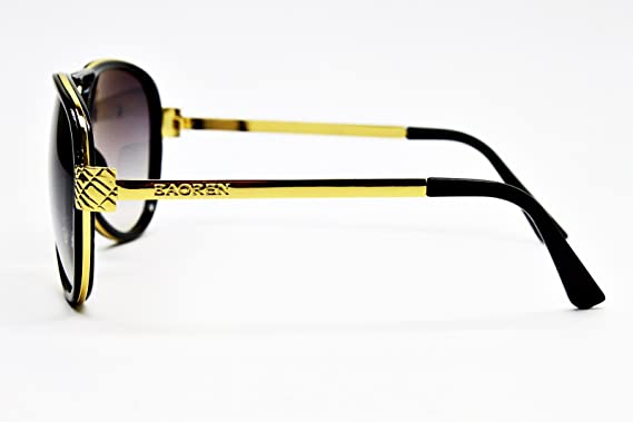 8a59dc4275 Amazon.com  A81-vp Style Vault Aviator Turbo Steampunk Sunglasses (5210  Black Gold-Smoked